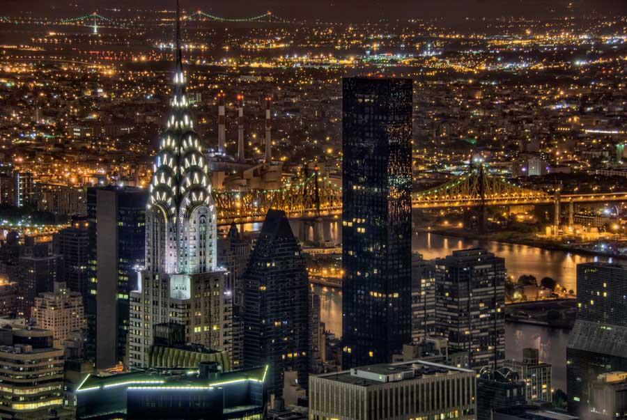 Chrysler Building Aerial at Night - Manhattan 2010
